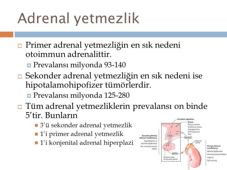Adrenal yetmezlik Primer adrenal yetmezliğin en sık nedeni otoimmun adrenalittir. Prevalansı milyonda 93-140.