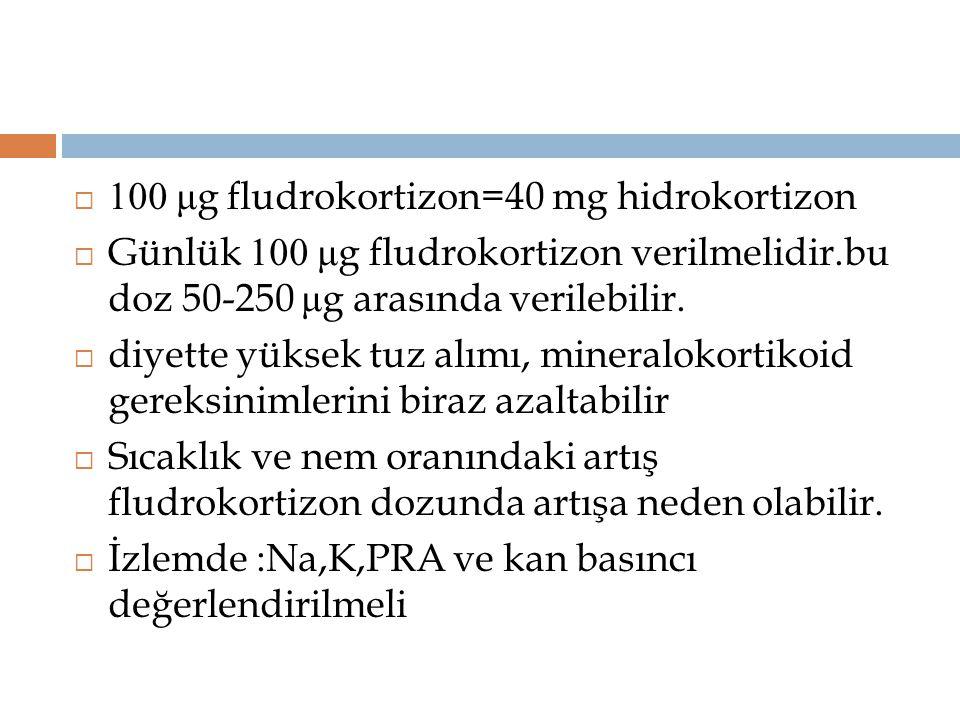 100 μg fludrokortizon=40 mg hidrokortizon
