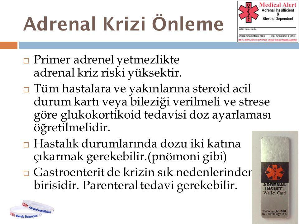 Adrenal Krizi Önleme Primer adrenel yetmezlikte adrenal kriz riski yüksektir.