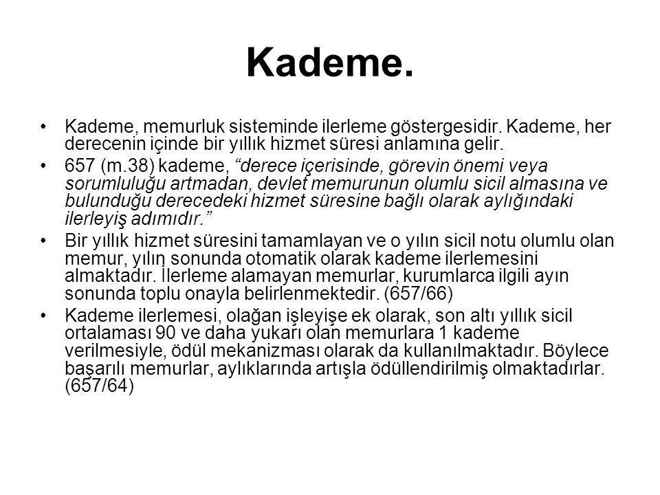 Kademe. Kademe, memurluk sisteminde ilerleme göstergesidir. Kademe, her derecenin içinde bir yıllık hizmet süresi anlamına gelir.