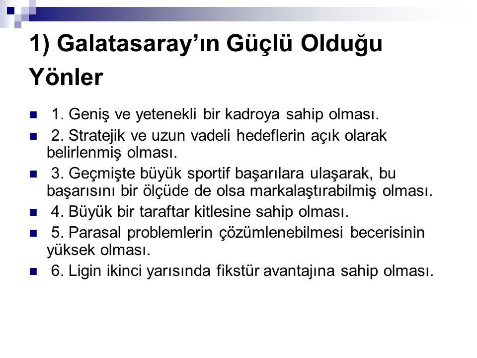 1) Galatasaray'ın Güçlü Olduğu Yönler