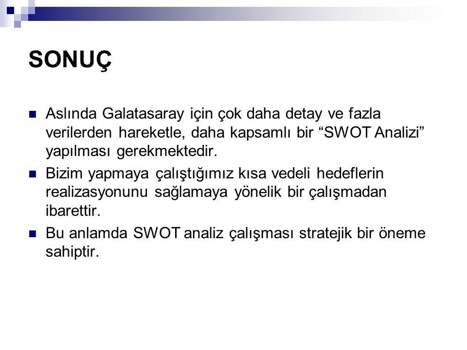 SONUÇ Aslında Galatasaray için çok daha detay ve fazla verilerden hareketle, daha kapsamlı bir SWOT Analizi yapılması gerekmektedir.