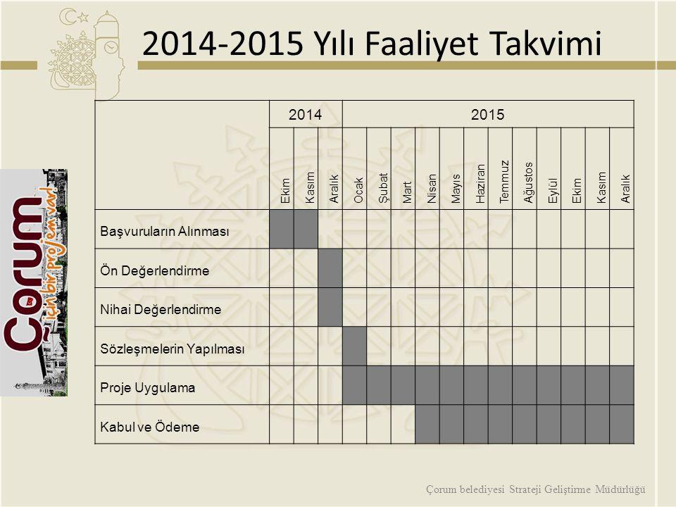 2014-2015 Yılı Faaliyet Takvimi