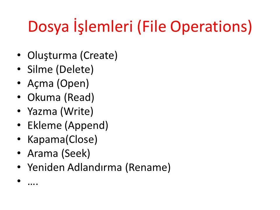 Dosya İşlemleri (File Operations)