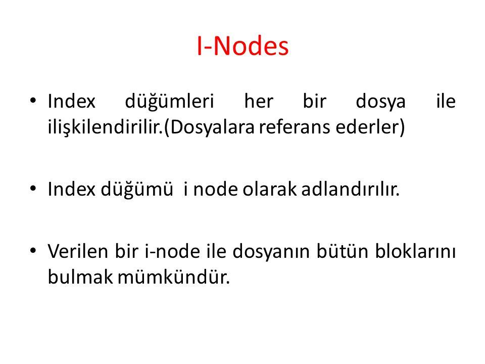 I-Nodes Index düğümleri her bir dosya ile ilişkilendirilir.(Dosyalara referans ederler) Index düğümü i node olarak adlandırılır.