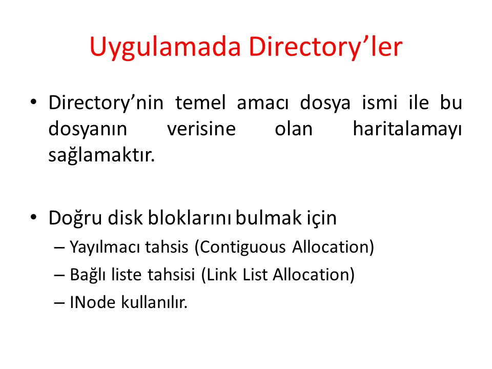 Uygulamada Directory'ler