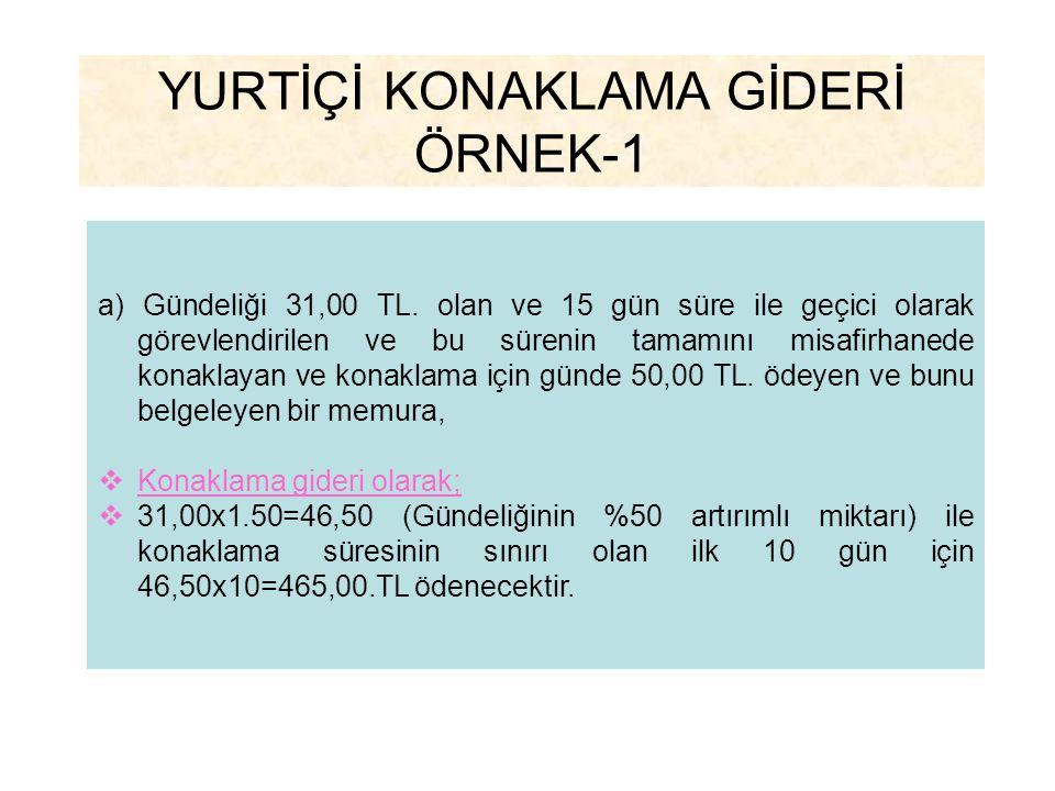 YURTİÇİ KONAKLAMA GİDERİ ÖRNEK-1