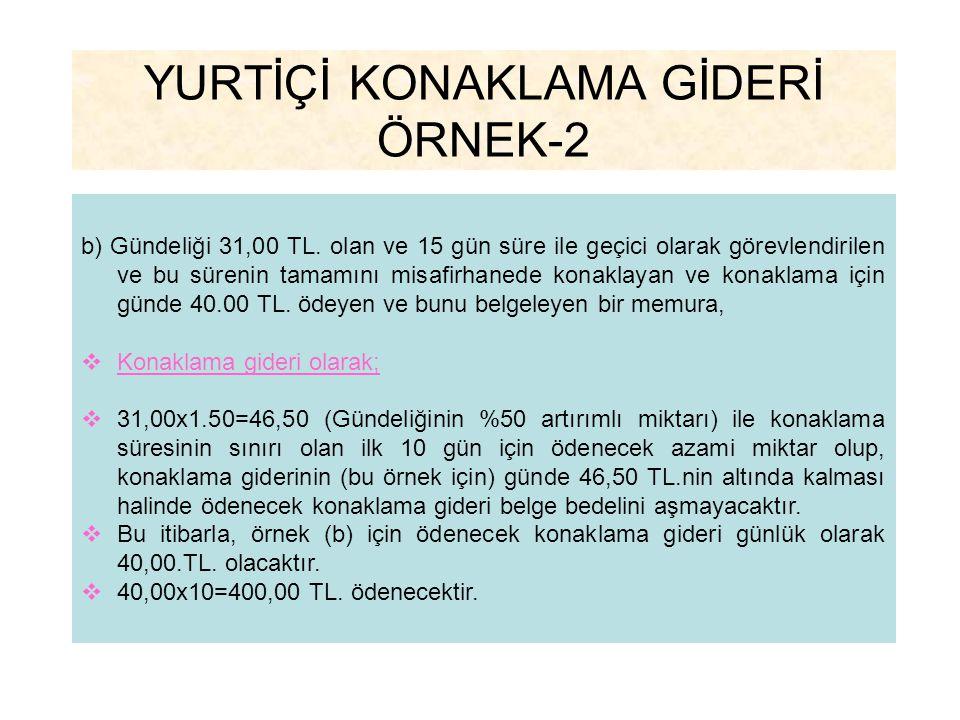 YURTİÇİ KONAKLAMA GİDERİ ÖRNEK-2
