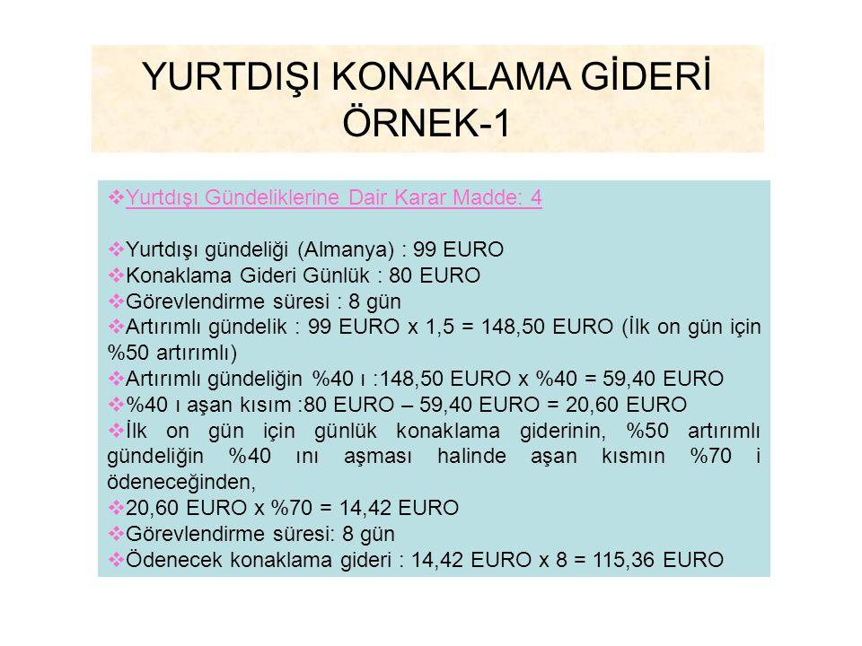YURTDIŞI KONAKLAMA GİDERİ ÖRNEK-1