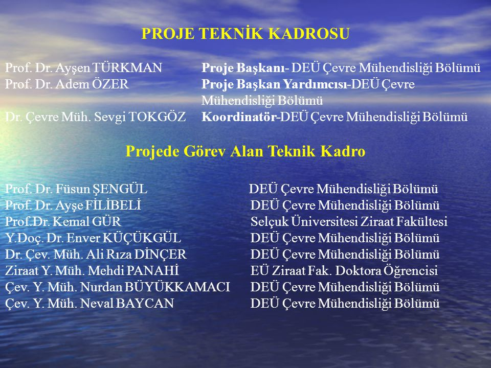 Projede Görev Alan Teknik Kadro