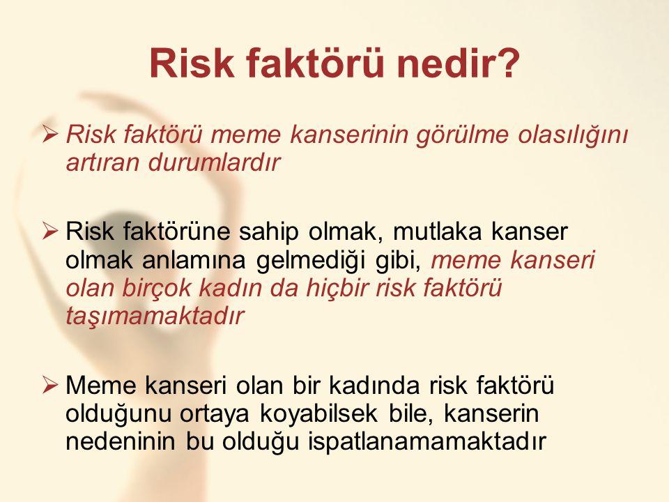 Risk faktörü nedir Risk faktörü meme kanserinin görülme olasılığını artıran durumlardır.