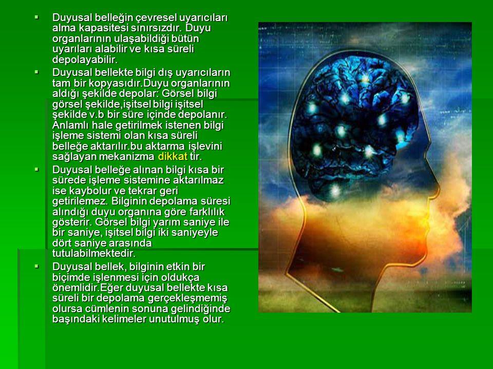 Duyusal belleğin çevresel uyarıcıları alma kapasitesi sınırsızdır