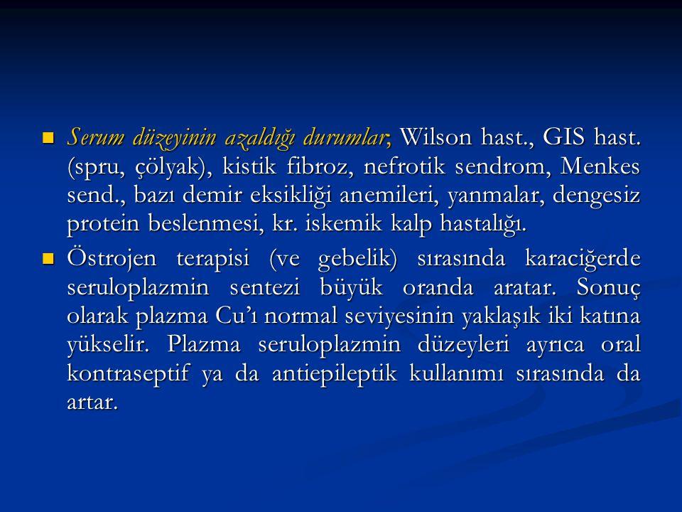 Serum düzeyinin azaldığı durumlar; Wilson hast. , GIS hast