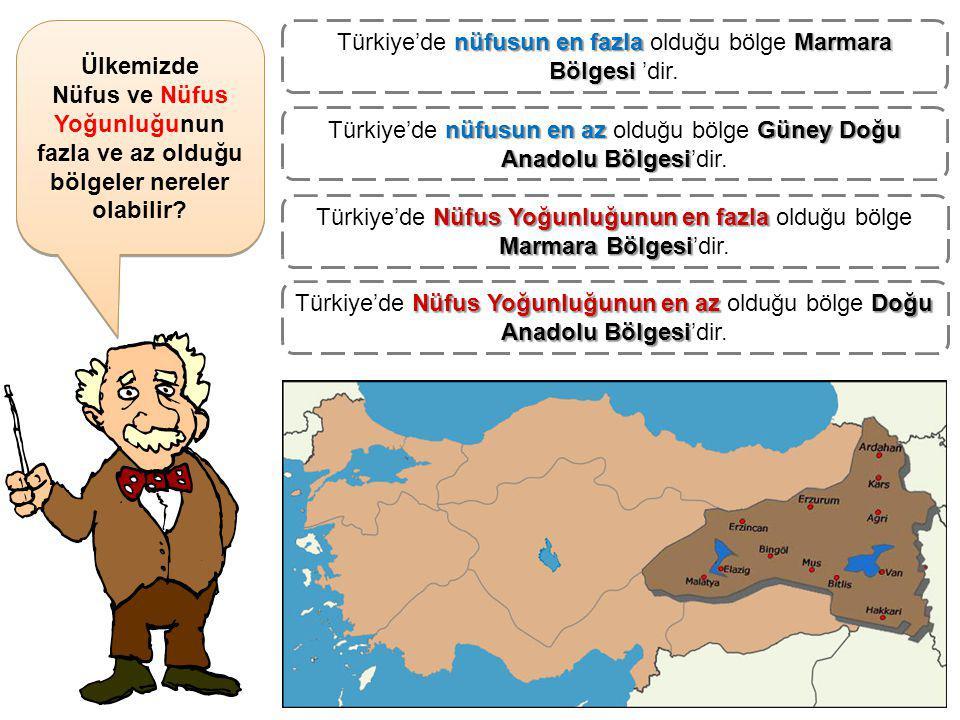 Türkiye'de nüfusun en fazla olduğu bölge Marmara Bölgesi 'dir.