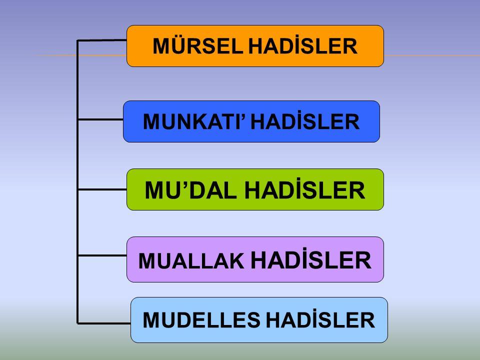 MU'DAL HADİSLER MÜRSEL HADİSLER MUNKATI' HADİSLER MUALLAK HADİSLER