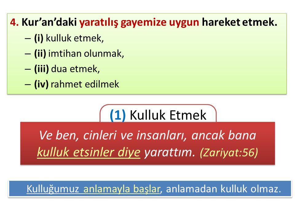 4. Kur'an'daki yaratılış gayemize uygun hareket etmek.