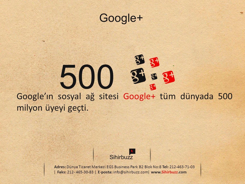 Google+ 500. Google'ın sosyal ağ sitesi Google+ tüm dünyada 500 milyon üyeyi geçti. Sihirbuzz.
