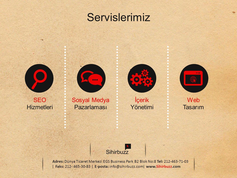 Servislerimiz SEO Hizmetleri Sosyal Medya Pazarlaması İçerik Yönetimi