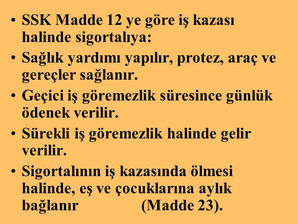 SSK Madde 12 ye göre iş kazası halinde sigortalıya: