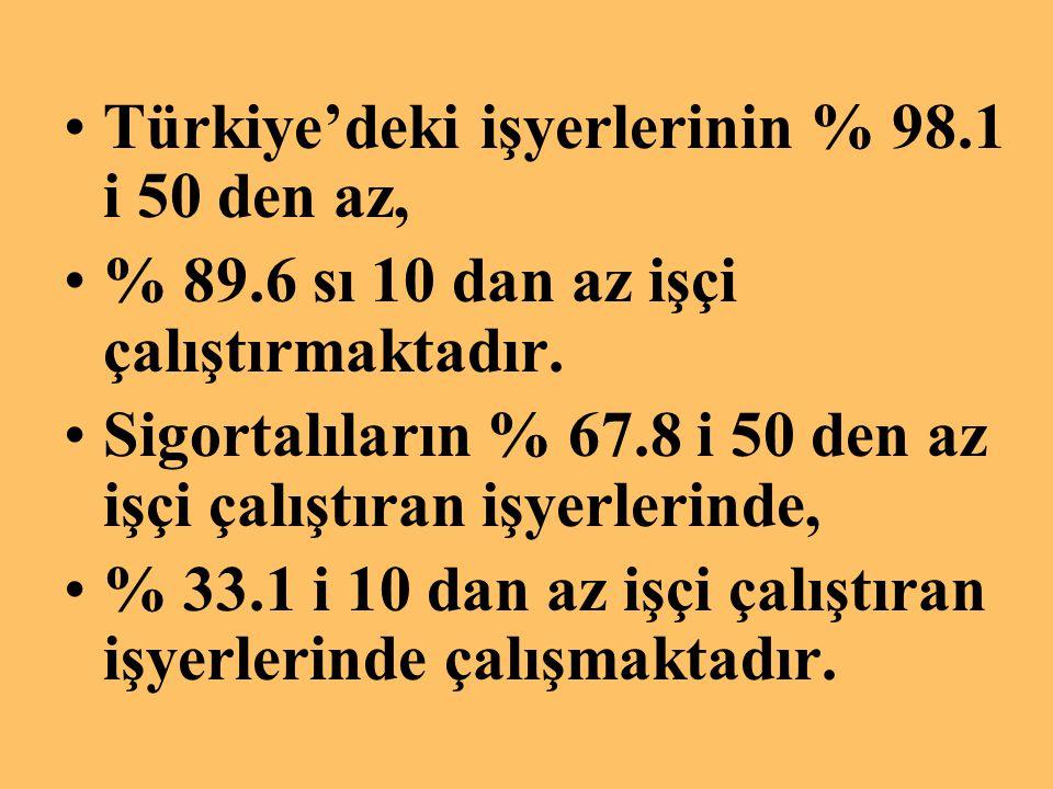 Türkiye'deki işyerlerinin % 98.1 i 50 den az,