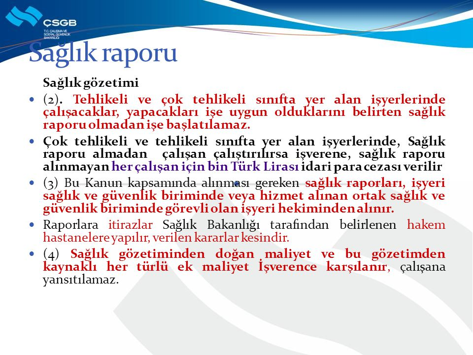 Sağlık raporu Sağlık gözetimi
