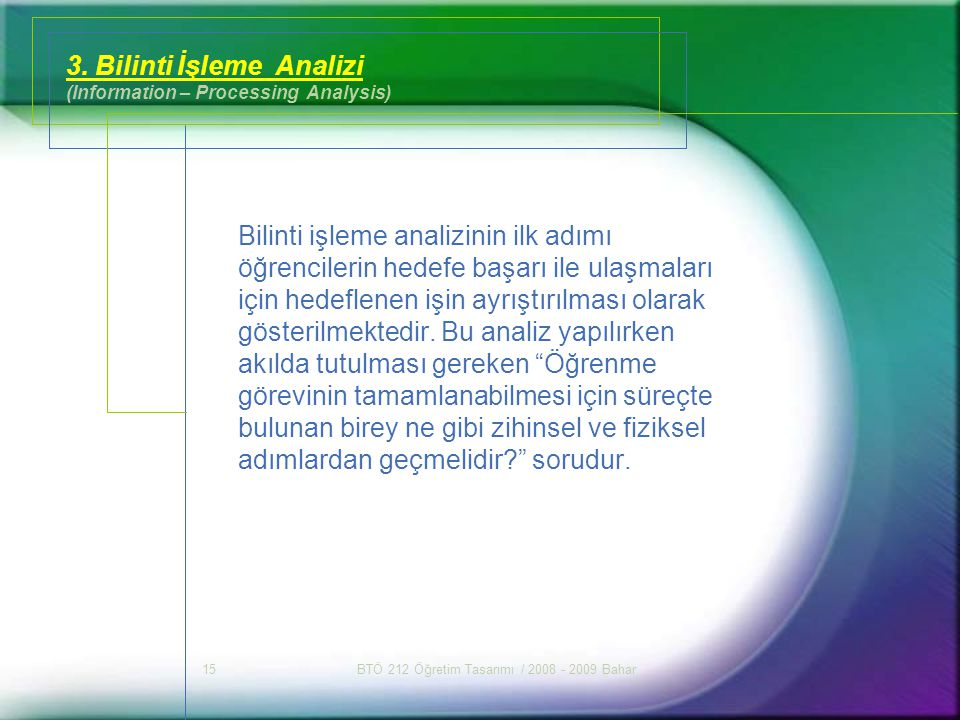 3. Bilinti İşleme Analizi (Information – Processing Analysis)
