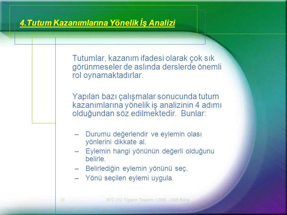 4.Tutum Kazanımlarına Yönelik İş Analizi