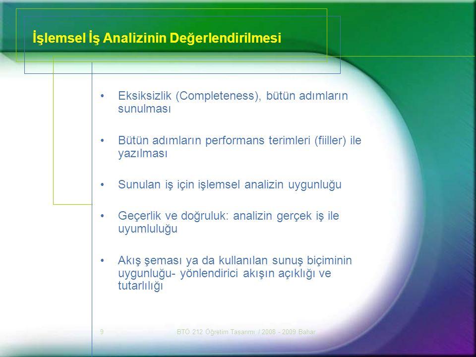 İşlemsel İş Analizinin Değerlendirilmesi