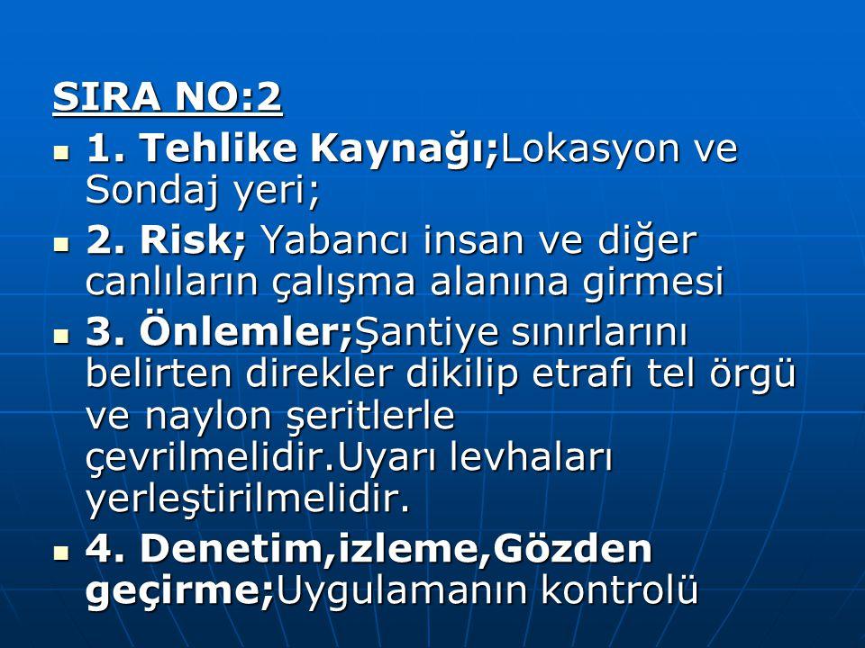 SIRA NO:2 1. Tehlike Kaynağı;Lokasyon ve Sondaj yeri; 2. Risk; Yabancı insan ve diğer canlıların çalışma alanına girmesi.