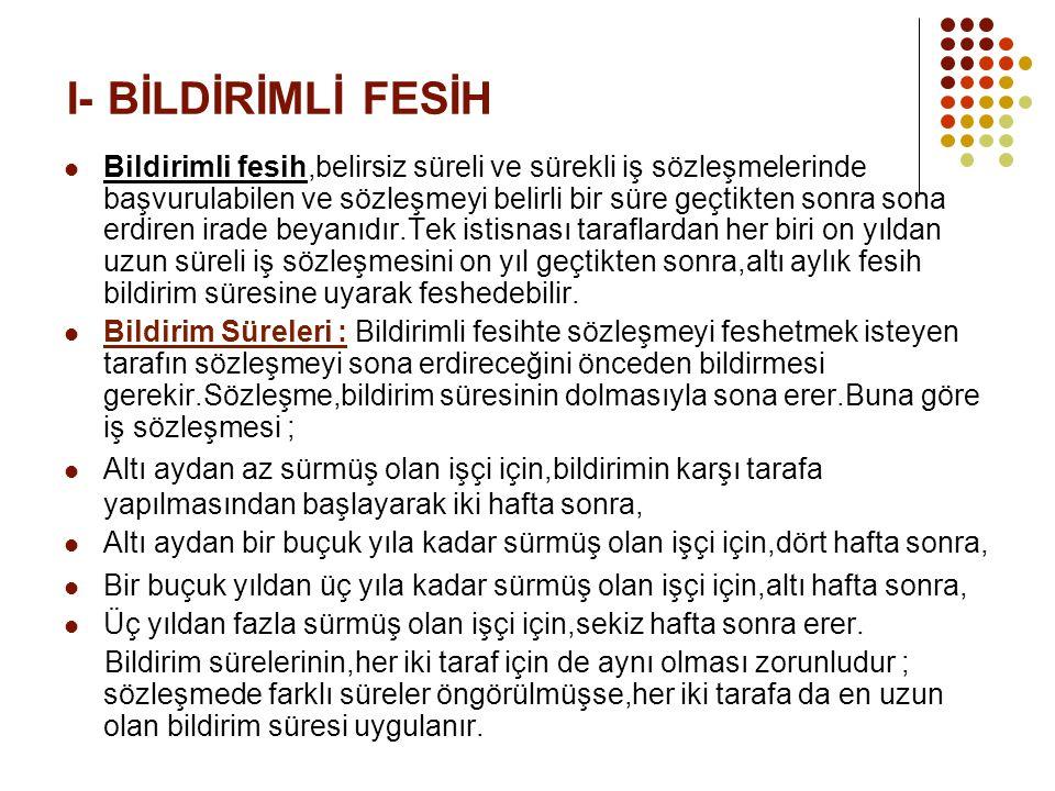 I- BİLDİRİMLİ FESİH
