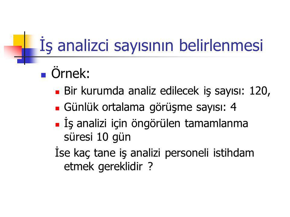 İş analizci sayısının belirlenmesi