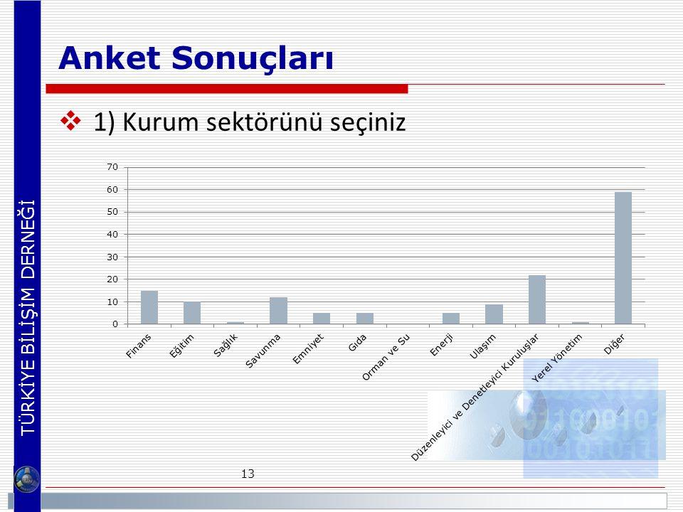 Anket Sonuçları 1) Kurum sektörünü seçiniz