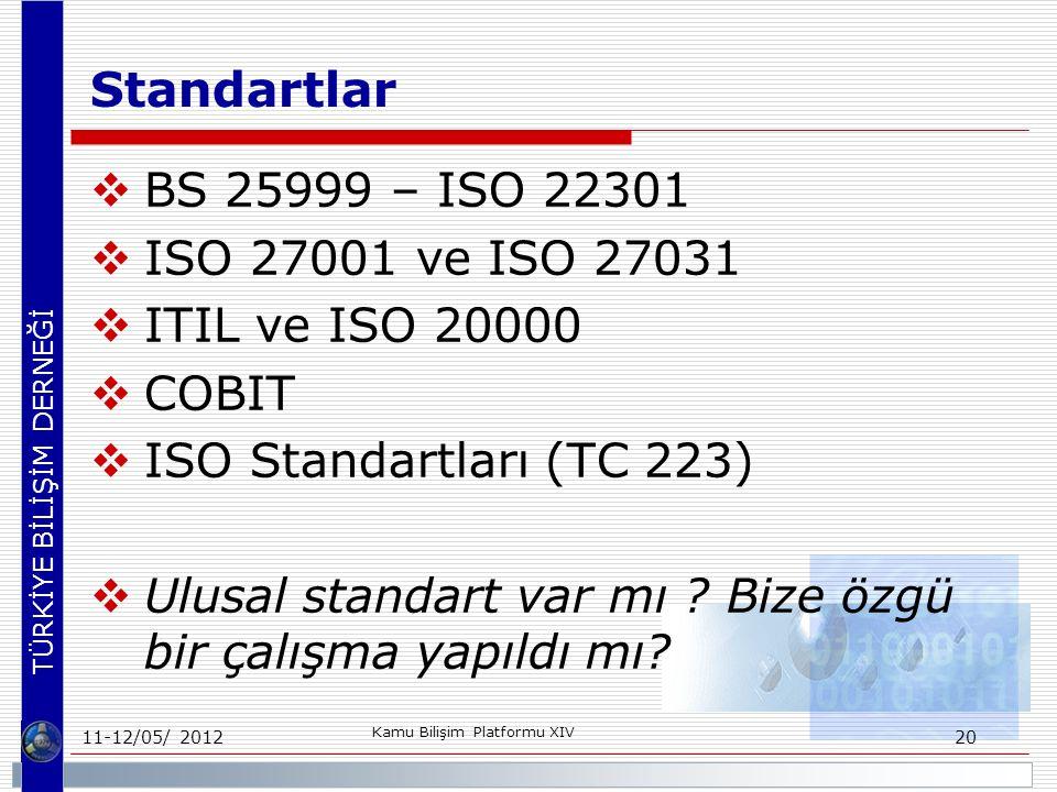 Standartlar BS 25999 – ISO 22301 ISO 27001 ve ISO 27031