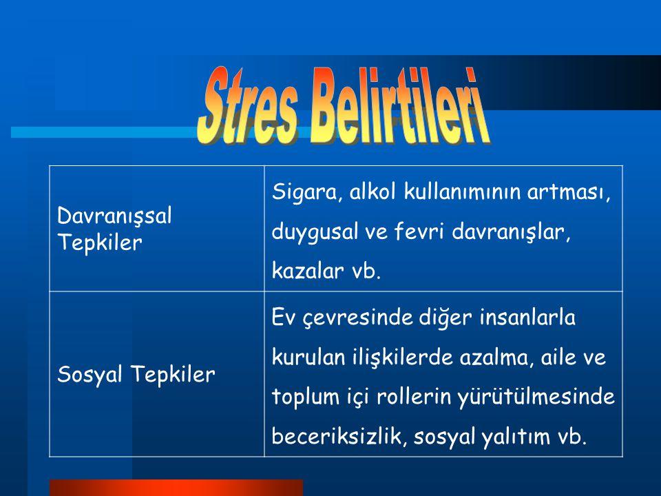 Stres Belirtileri Davranışsal Tepkiler. Sigara, alkol kullanımının artması, duygusal ve fevri davranışlar, kazalar vb.