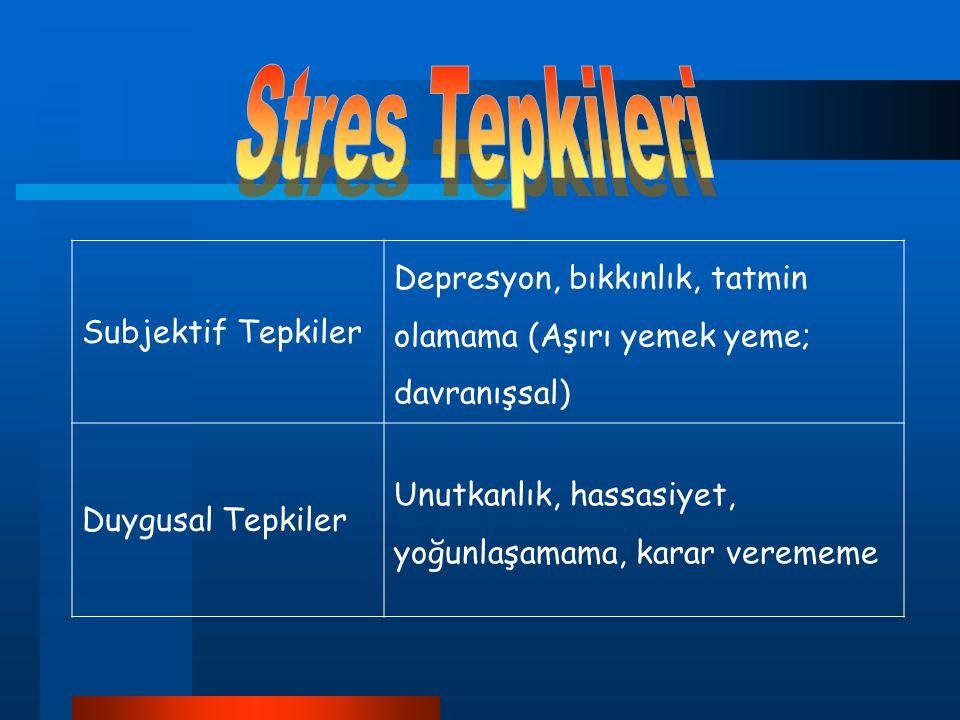 Stres Tepkileri Subjektif Tepkiler. Depresyon, bıkkınlık, tatmin olamama (Aşırı yemek yeme; davranışsal)