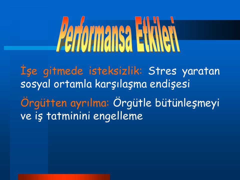 Performansa Etkileri İşe gitmede isteksizlik: Stres yaratan sosyal ortamla karşılaşma endişesi.