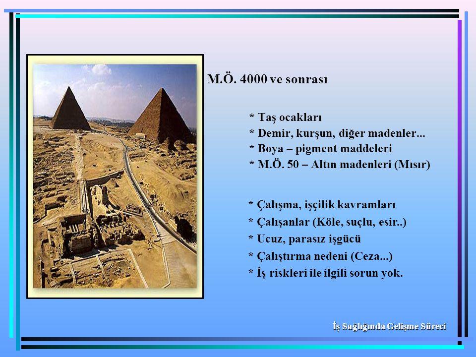 M.Ö. 4000 ve sonrası * Taş ocakları * Demir, kurşun, diğer madenler...