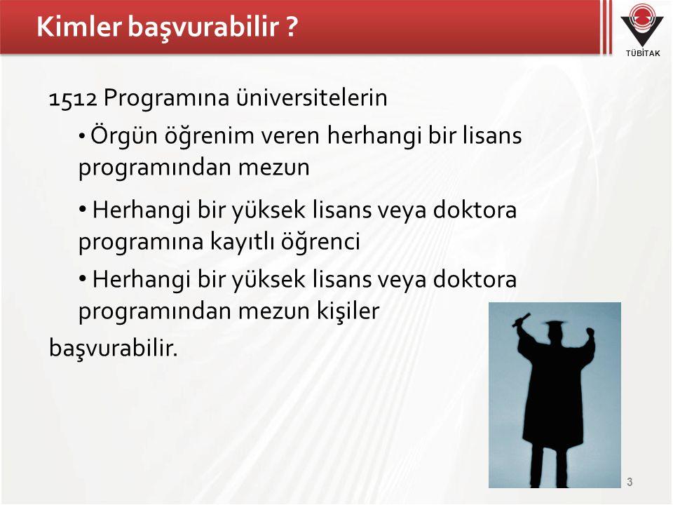 Kimler başvurabilir 1512 Programına üniversitelerin