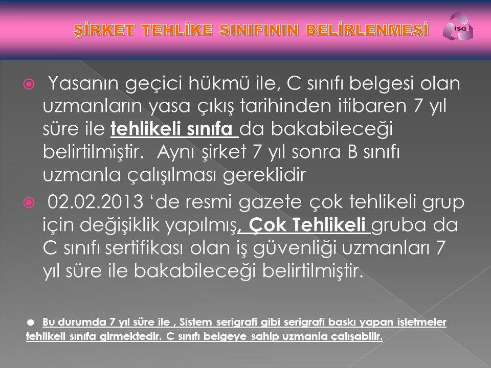 ŞİRKET TEHLİKE SINIFININ BELİRLENMESİ