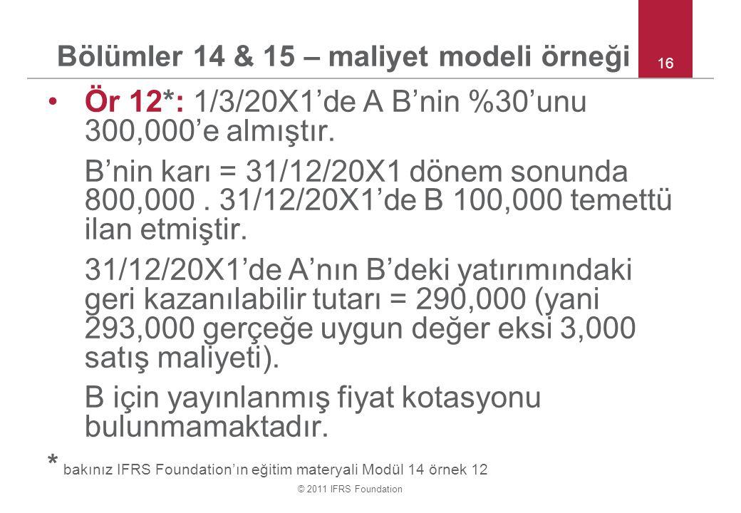 Bölümler 14 & 15 – maliyet modeli örneği