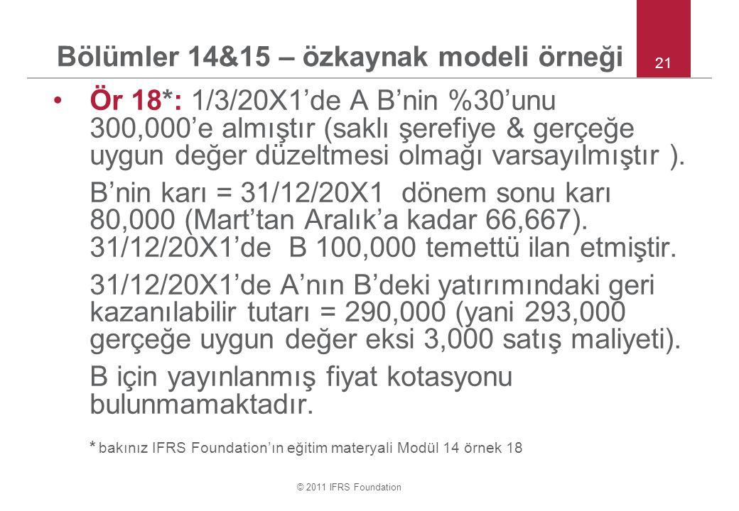 Bölümler 14&15 – özkaynak modeli örneği