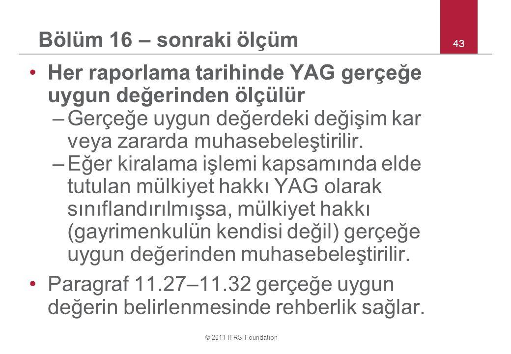 Her raporlama tarihinde YAG gerçeğe uygun değerinden ölçülür