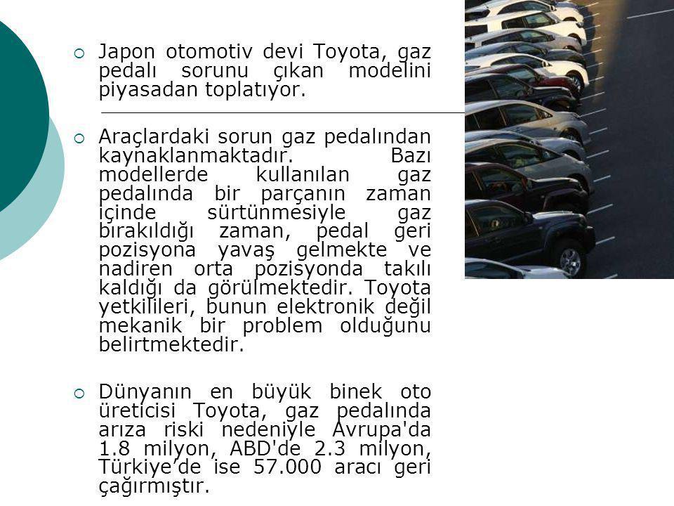 Japon otomotiv devi Toyota, gaz pedalı sorunu çıkan modelini piyasadan toplatıyor.
