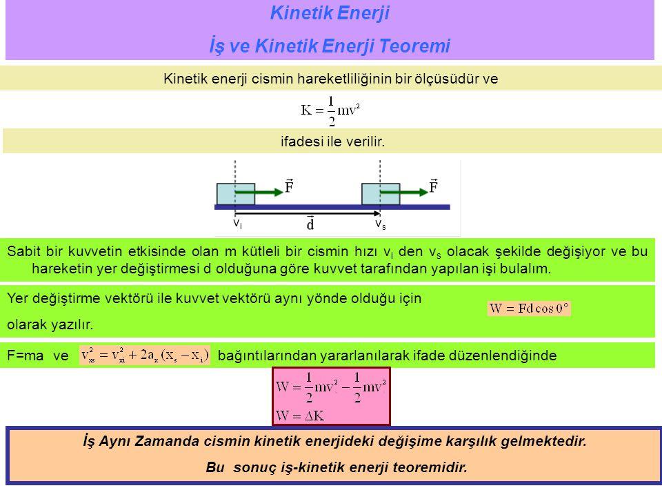 İş ve Kinetik Enerji Teoremi Bu sonuç iş-kinetik enerji teoremidir.