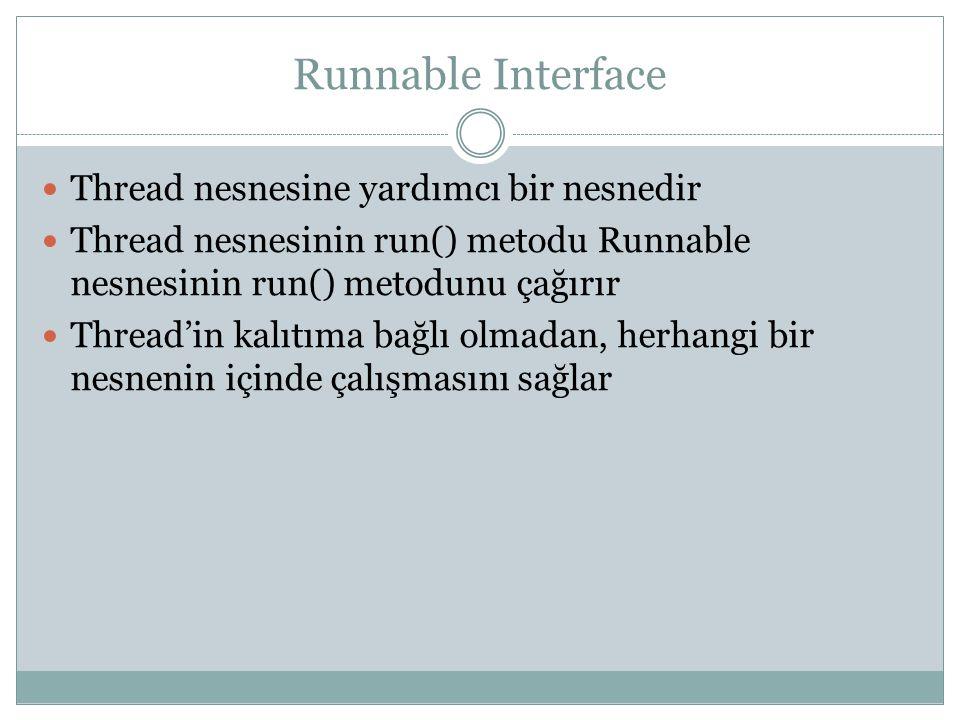 Runnable Interface Thread nesnesine yardımcı bir nesnedir