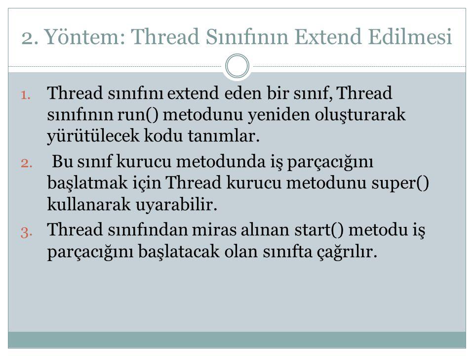 2. Yöntem: Thread Sınıfının Extend Edilmesi