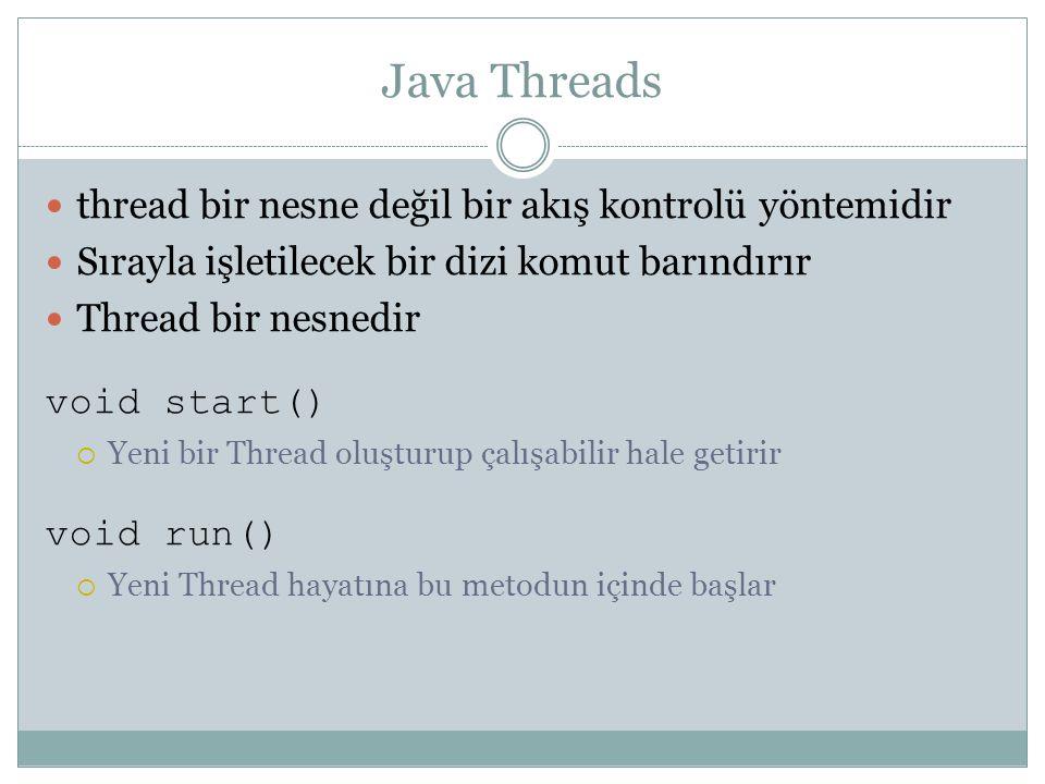 Java Threads thread bir nesne değil bir akış kontrolü yöntemidir