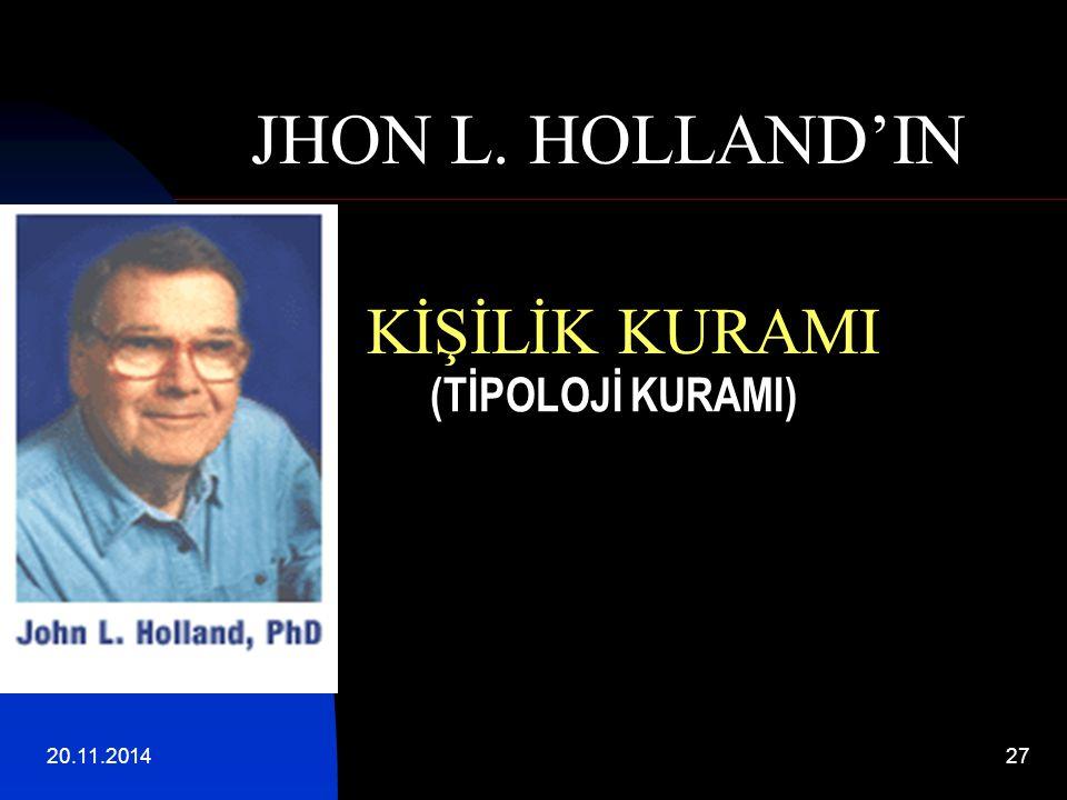 (TİPOLOJİ KURAMI) JHON L. HOLLAND'IN KİŞİLİK KURAMI 07.04.2017 27 27