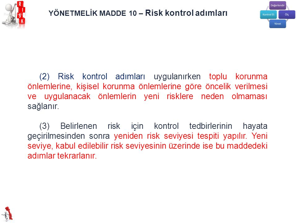 YÖNETMELİK MADDE 10 – Risk kontrol adımları