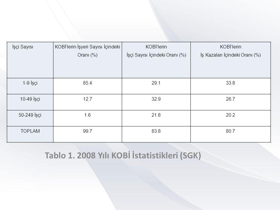 Tablo 1. 2008 Yılı KOBİ İstatistikleri (SGK)